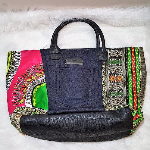 Denim Dashiki Print Tote Bag