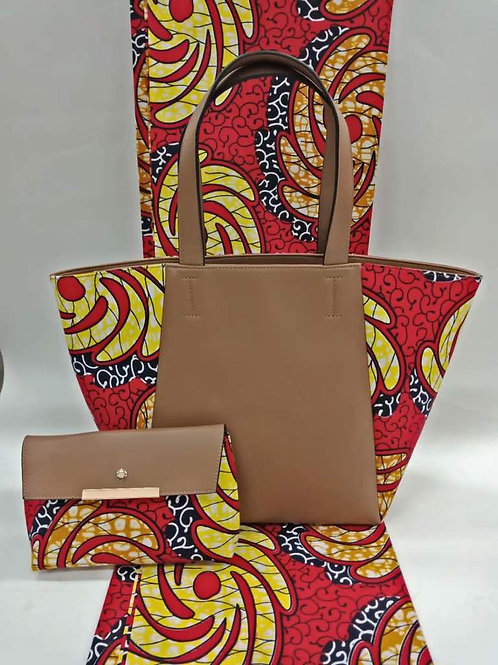 Leather & Ankara Tote Bag and Clutch