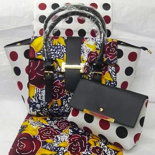 Floral Print Tote Bag and Clutch (2Pc)