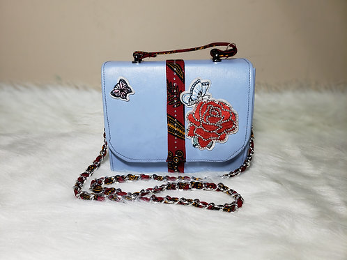 Leather Cross Shoulder Bag with Ankara Material