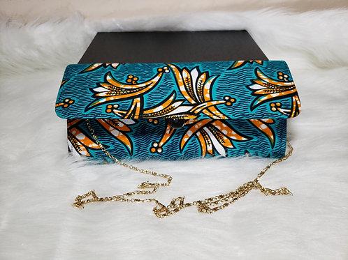 Ada Mini Clutch Bag (Blue Ankara Print)