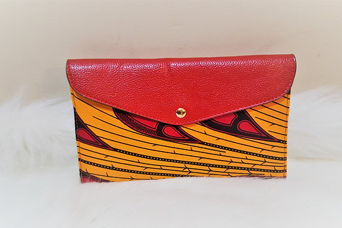 Red and Orange Leather Ankara Wallet