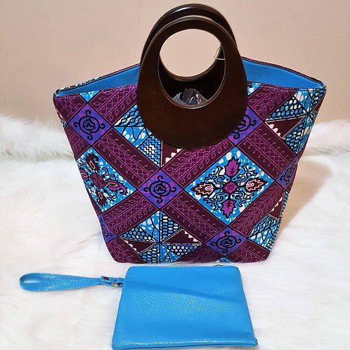 Purple Print Wood Handle Handbag