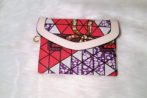 Envelope Wallet with Ankara Print and Leather Trim