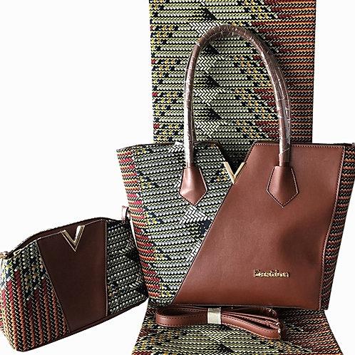 Chocolate Leather Print Handbag