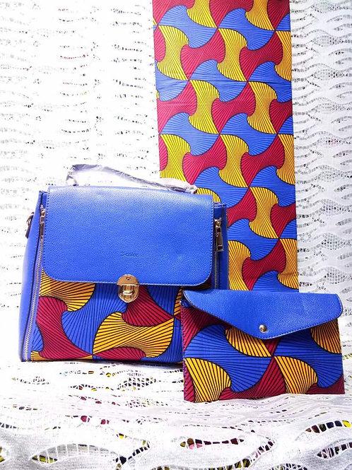 Blue Leather Ankara Handbag