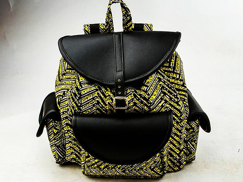 LARGE ANKARA BACKPACK WITH LEATHER FLAPS