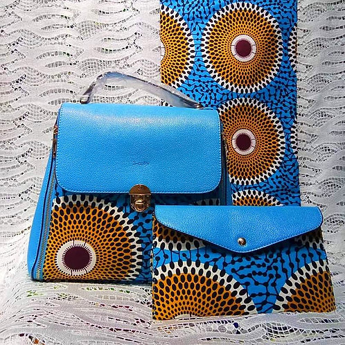 Light Blue and Brown Ankara Handbag