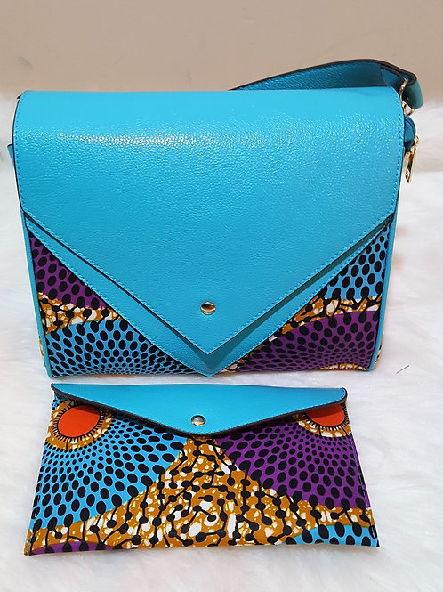 Light Blue Leather Ankara Purse