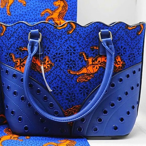 Ankara and Leather Tote Bag (1pc)