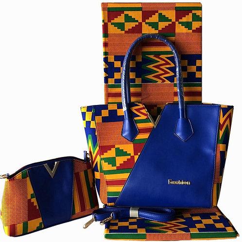Leather and Kente Print Handbag with Cross Bag (1 pc)