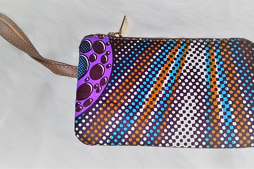 Blue, Brown and Purple Ankara Wallet