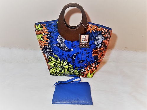 Floral Wood Handle Handbag