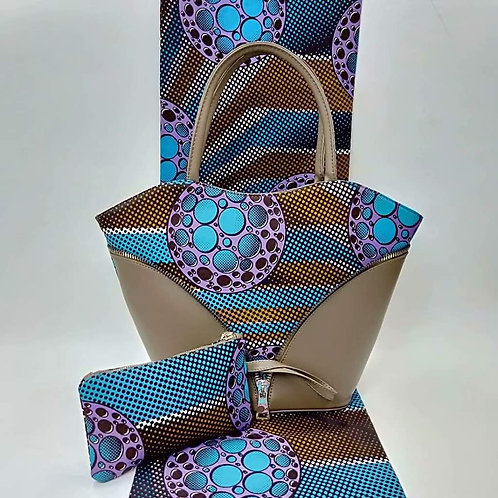 Blue & Brown Tote Bag