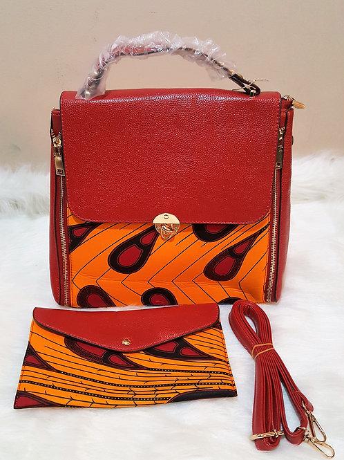 Red and Orange Leather Ankara Purse (2pc)