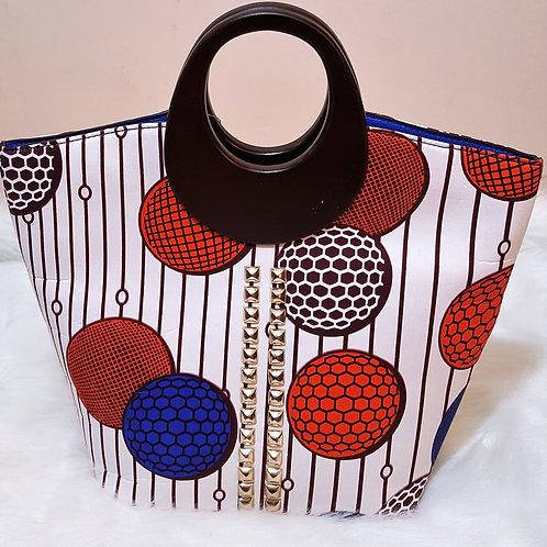 Red/Blue/White Wood Handle Handbag