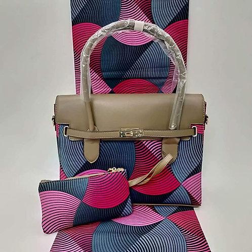 Pink & Blue Swirl Ankara Bag