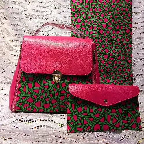 Pink and Green Leather Ankara Handbag