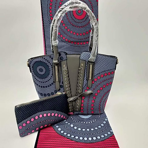 African Print Tote Bag and Clutch (2Pc)