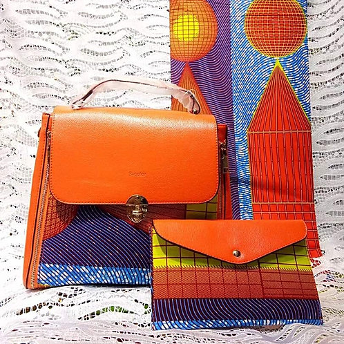 Orange Leather Ankara Handbag