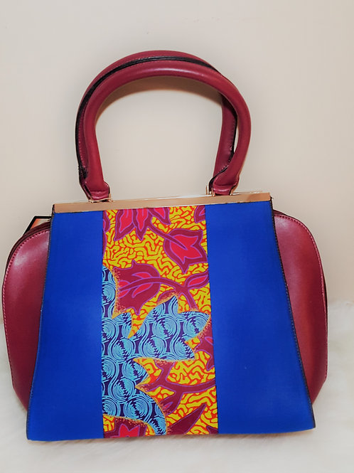 Brown Leather Bag with Floral Side Panel