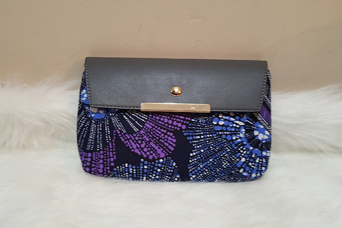 Grey Leather Ankara Clutch (1pc)