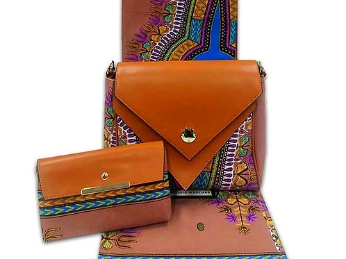 Brown Leather Dashiki Shoulder Bag & Clutch (2 Pc)