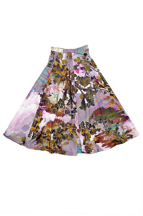 Purple Printed Maxi Skirt