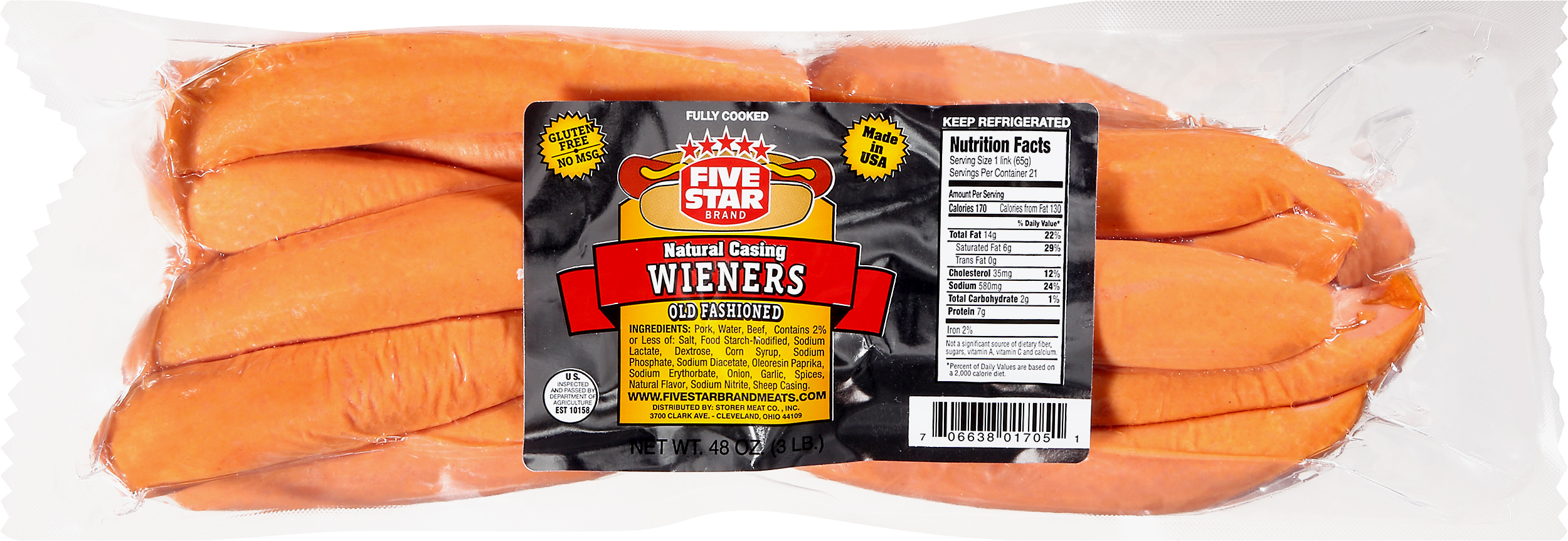FIVE STAR Brand Natural Casing WIENER 3LB
