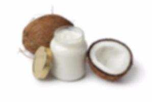 Creamed coconut jar with coconuts