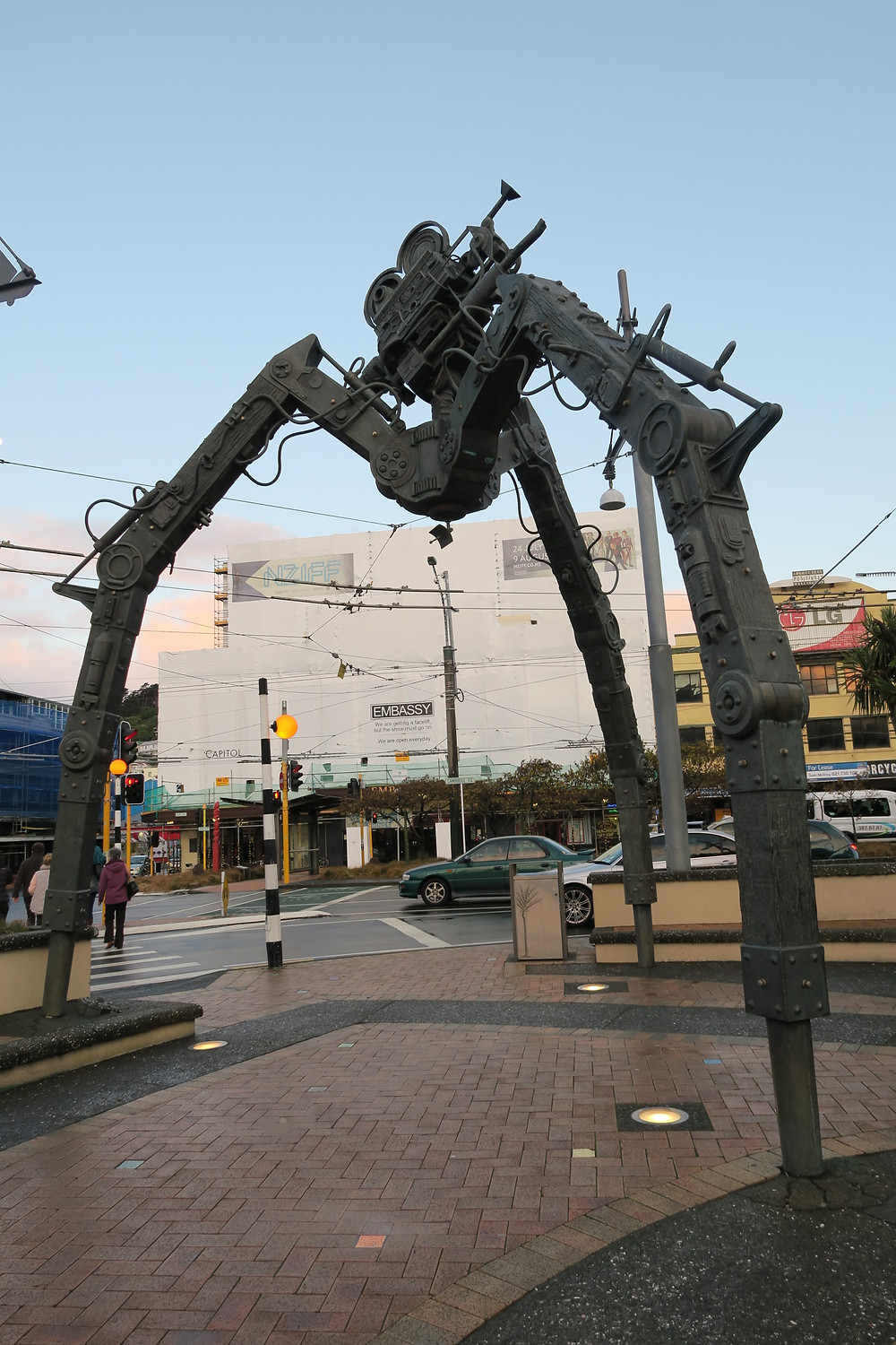 The Tripod  Weta Workshop was invited to create a monumental public art sculpture to celebrate the Wellington screen industry. The Tripod is situated opposite the Embassy Theatre.