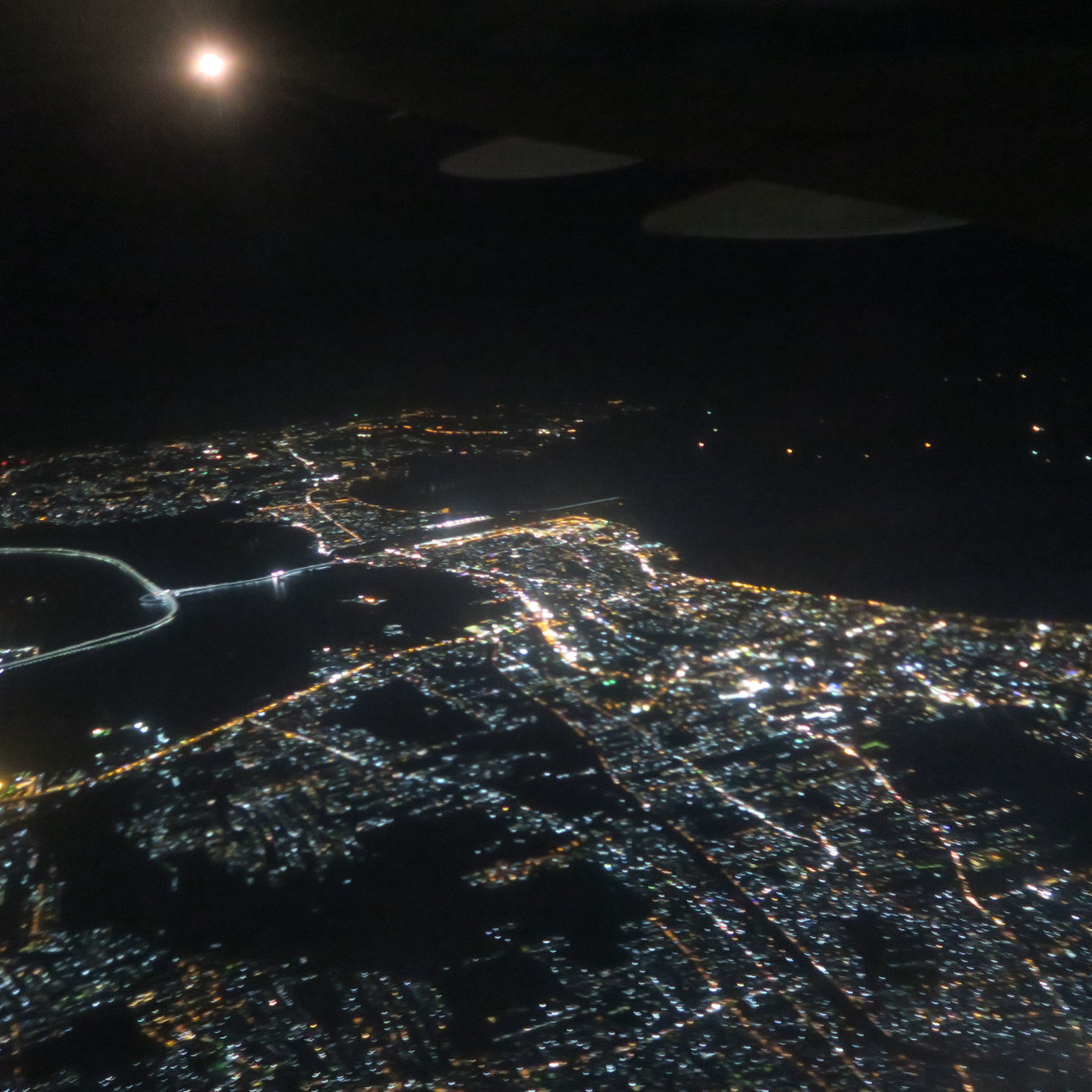 Bali at night from above