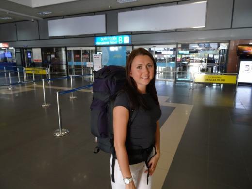 Backpacker arriving in Hanoi