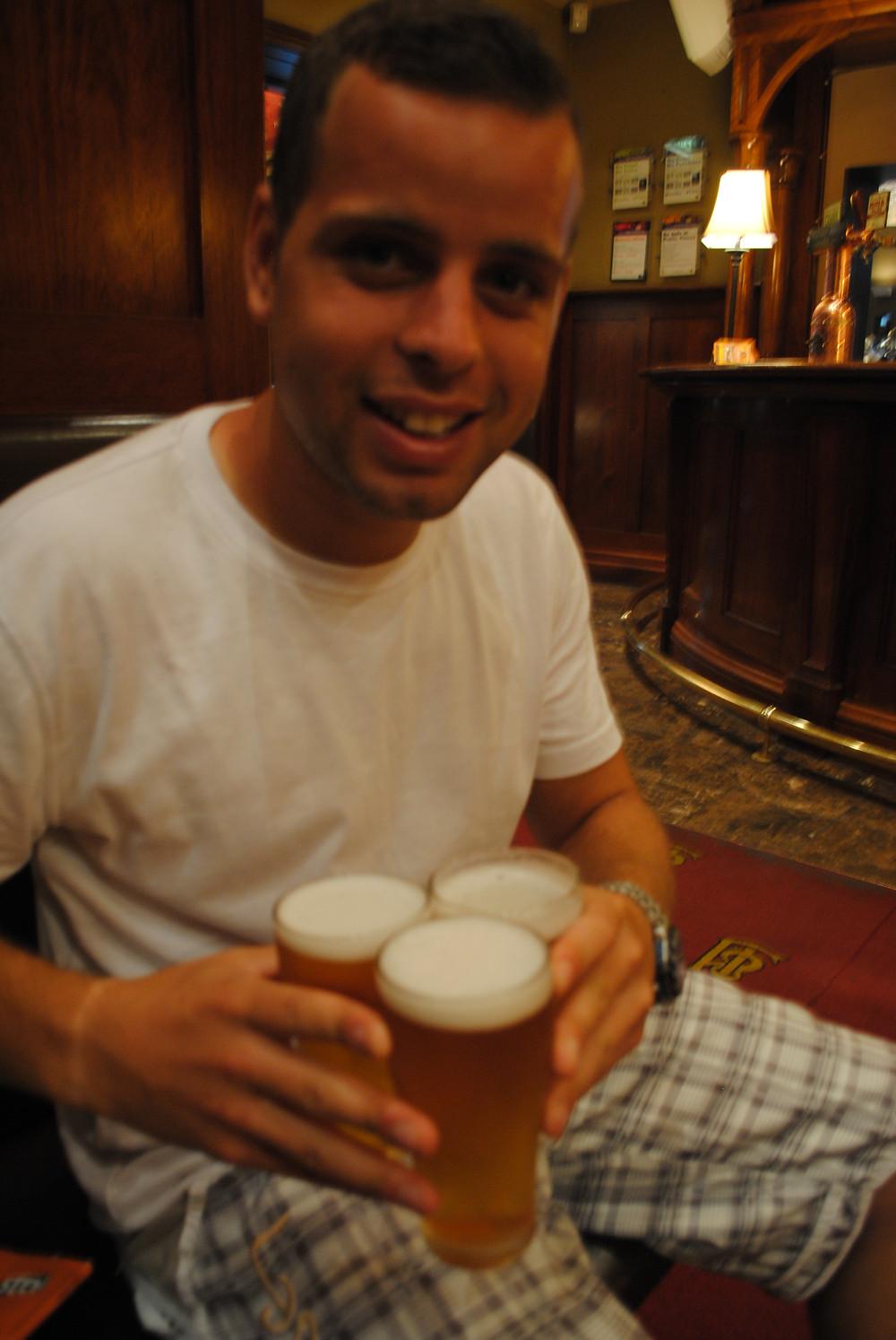 drinking VB beer