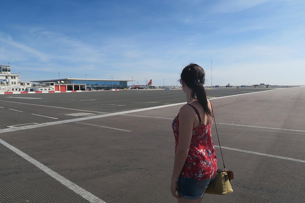 Walking across Gibraltar's airport