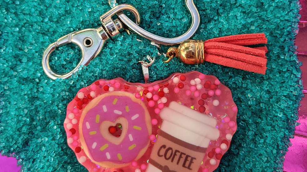 Big Coffee & Donut Keychain w/Coral Pleather Tassle