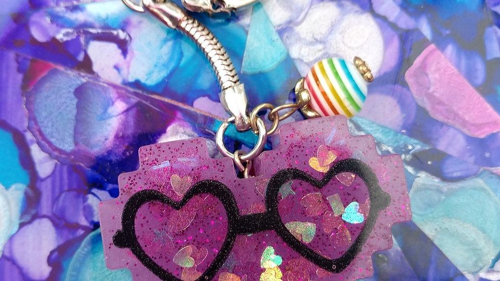 Purple Heart Glasses Keychain