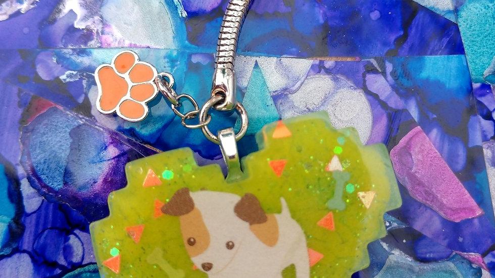 Green Puppy Keychain