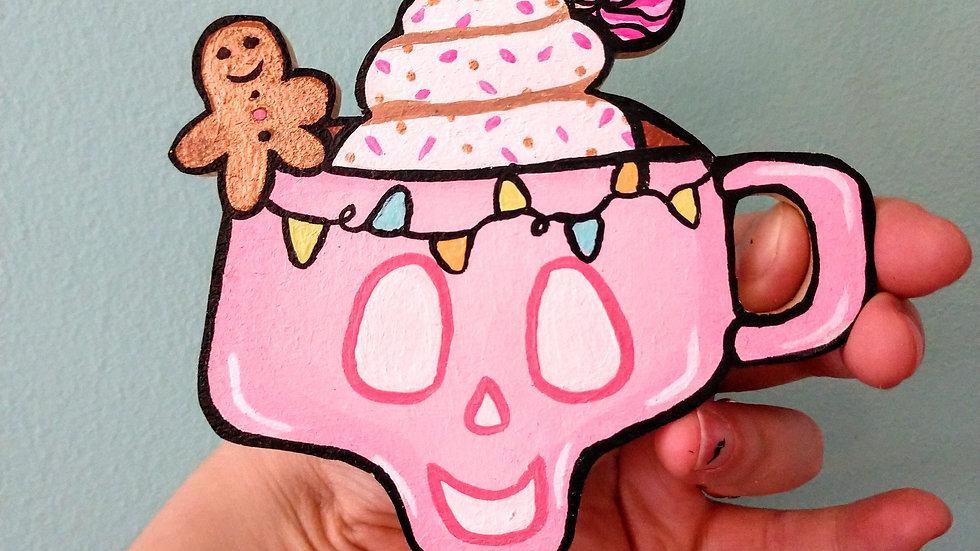 Pastel Pink Holiday Drink Magnet