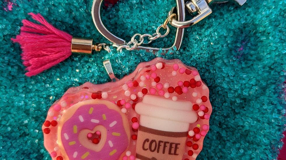 Big Sprinkled Donut & Coffee Keychain
