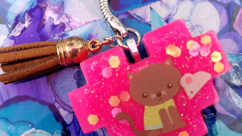 Brown/Pink Kitty Keychain