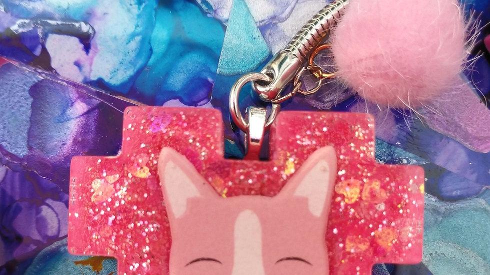 Pink Kitty Keychain
