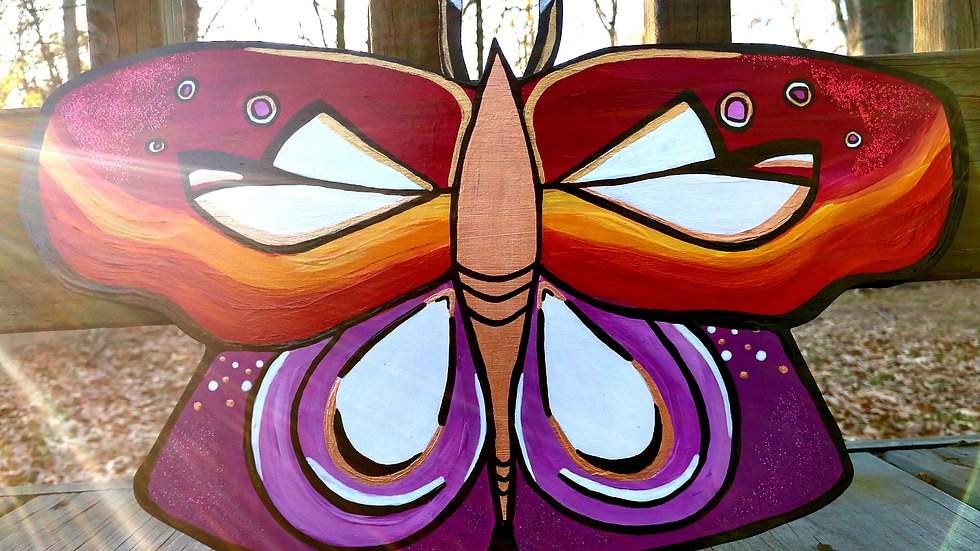 Sunset Wooden Butterfly