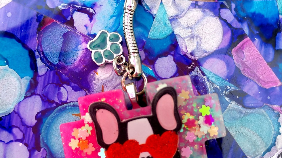 Multi Color Doggy w/ Heart Glasses Keychain