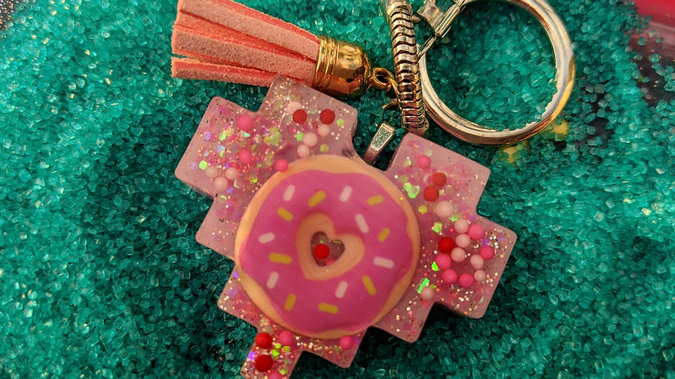 Donut Keychain w/ Coral Pleather Tassle