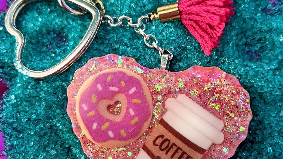 Big Light Pink Donut & Coffee Keychain