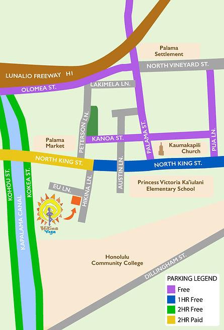 Hikina Yoga Parking Map
