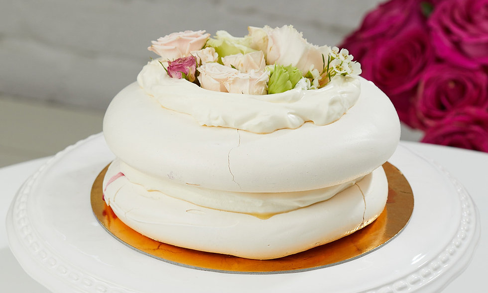 Meringue Cake Decorated with Flowers