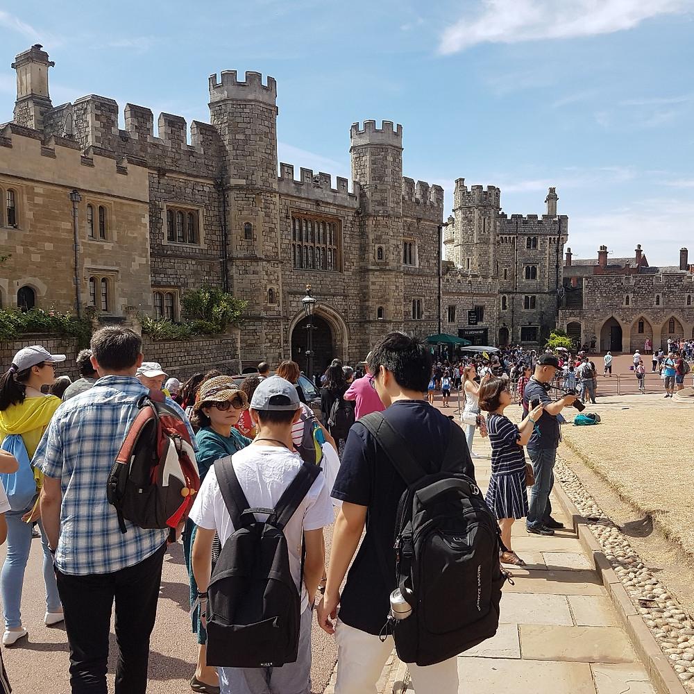 International students walking towards Windsor Castle exit