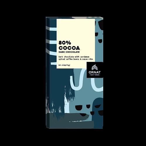 אריזה מלבנית בצבעי כחול עם טבלת שוקולד 80% מוצקי קקאו
